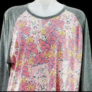 NWT LULAROE LLR 3XL Randy Gray sleeves Pink White